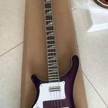 Левша бас-гитары 4 Струны электрический бас фиолетовый взрыв два входа разъем гитар