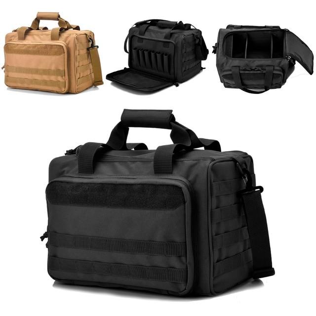 Reebow Tactical Gun Shooting Range Bag Deluxe Pistol Duffle Bags Black Brown