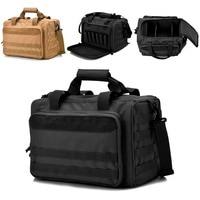REEBOW TACTICAL Gun Shooting Range Bag Deluxe Pistol Range Duffle Bags Black Brown