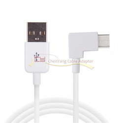 Right Angled Type-C USB-C to USB 2.0 Cable 90 Degree Connector for Tablet & Phone White Color cy