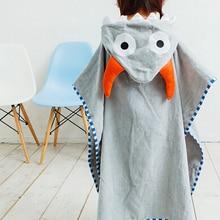 Хлопковый купальный Халат с капюшоном высшего качества коричневого кофейного цвета, Пляжное банное полотенце с рисунком Совы/Серый халат с рогом быка