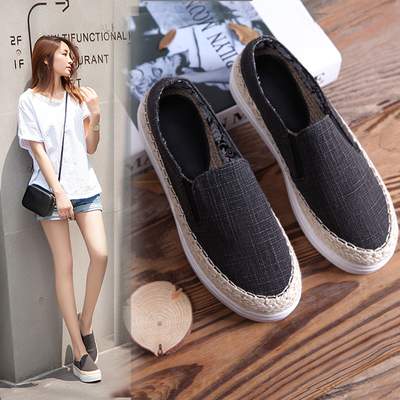 2017 New Summer Thick Soles Women Shoes Casual High Quality Womens Loafers Slip on Canvas Shoes Fisherman Shoes Zapatos Mujer neweekend genuine leather bag men bags shoulder crossbody bags messenger small flap casual handbags male leather bag new 3823