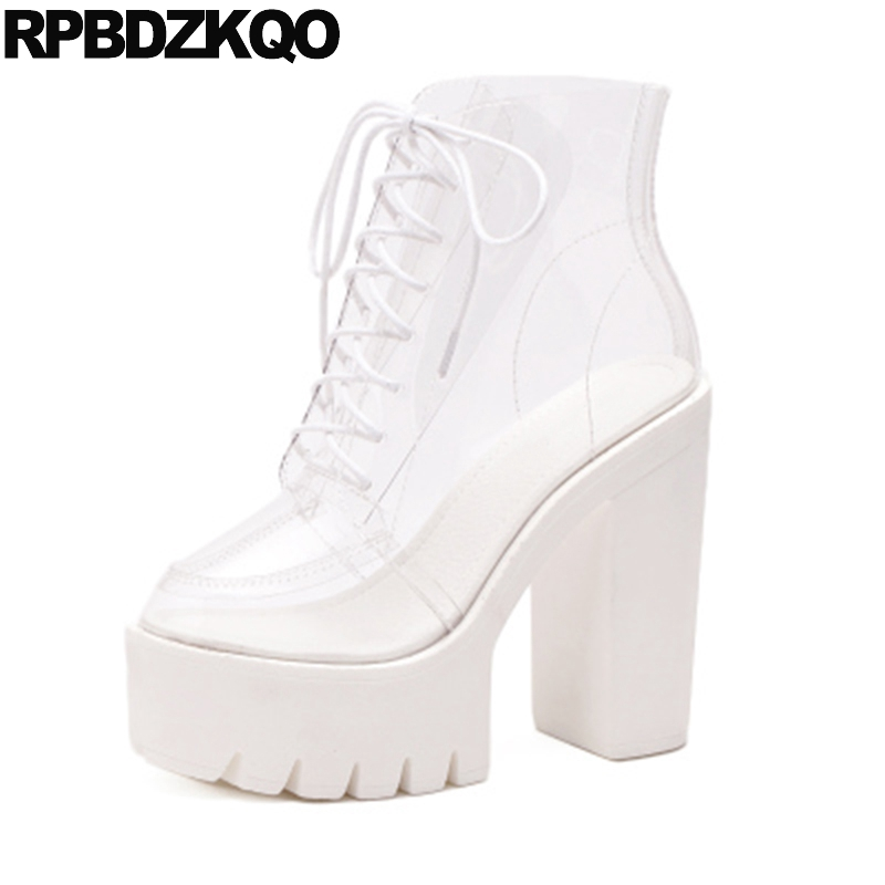 Extreme Pvc Clear Lace Up Transparent High Heel Rainboots Sandals Shoe Rain Chunky Booties Platform Waterproof Women Ankle Boots fashion women transparent heel boots pvc thigh high tall gladiator sandals booties lace up clear heel pvc transparent boots