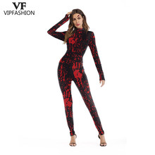 Bodysuit Halloween-Costumes Blood-Handprint Cosplay Printed Women 3D Terro for Rompers