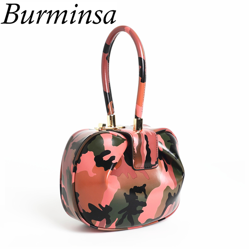 Burminsa Women Genuine Leather Camouflage Bags Girl Hit Color Small Handbags Designer Brand High Quality Tote Evening Bags 2018 burminsa brand winter round saddle genuine leather bags smiley designer handbags high quality shoulder crossbody bags for women