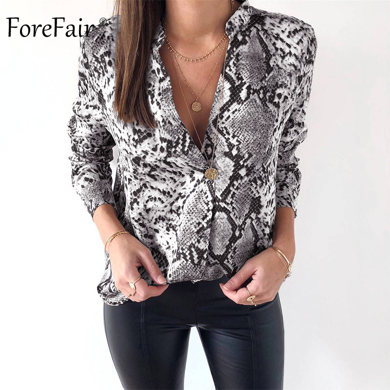 Forefair Snake Animal Print Blouse and Shirt Long Sleeve Casual Plus Size V Neck Serpentine Fashion Women Blouses Autumn 2018 Блузка