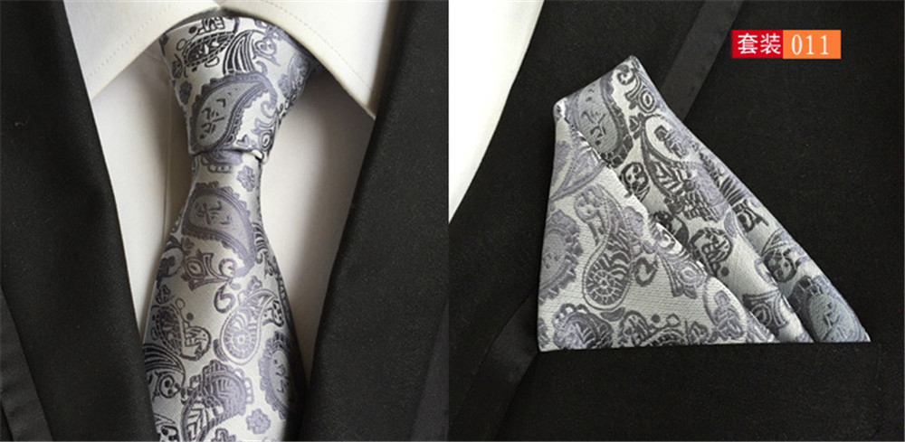 Brave Cityraider Sliver Gray Paisley Floral New Silk Ties For Men Gift Necktie Slim Necktie Handkerchief With Match Tie 2pcs Set Cr019 Excellent (In) Quality