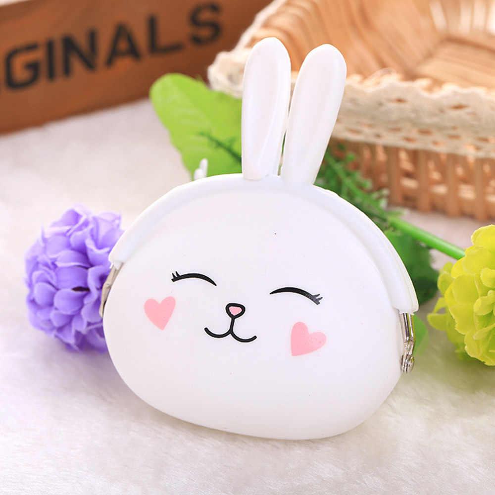 c1ecdda25f4e 1 предмет милый кролик силиконовый кошелек для монет резиновый кошелек  Чехол ключевые сумки держатель для хранения