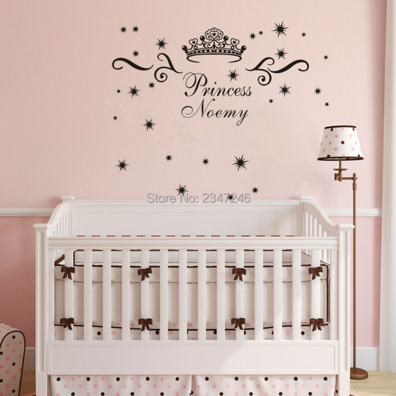 Girls Name Cute Crown Wall Decors Princess Customized Name Home Decals DIY Decoration  Wall Poster Mural Part 81