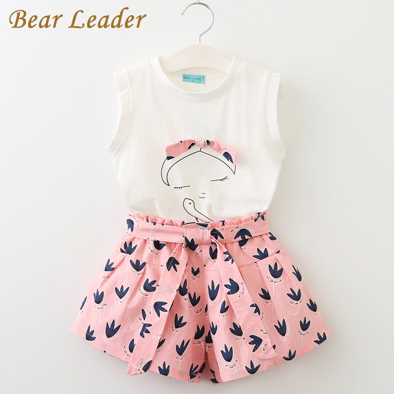Bear Leader Girls Clothing Sets 2017 Children Clothing Sleeveless T-shirt+Print Pants 2Pcs for Kids Clothing Sets Baby Clothes bear leader baby boys girls sets 2017 autumn baby clothing sets house applique sweatshirt striped pants 2pcs for baby clothes