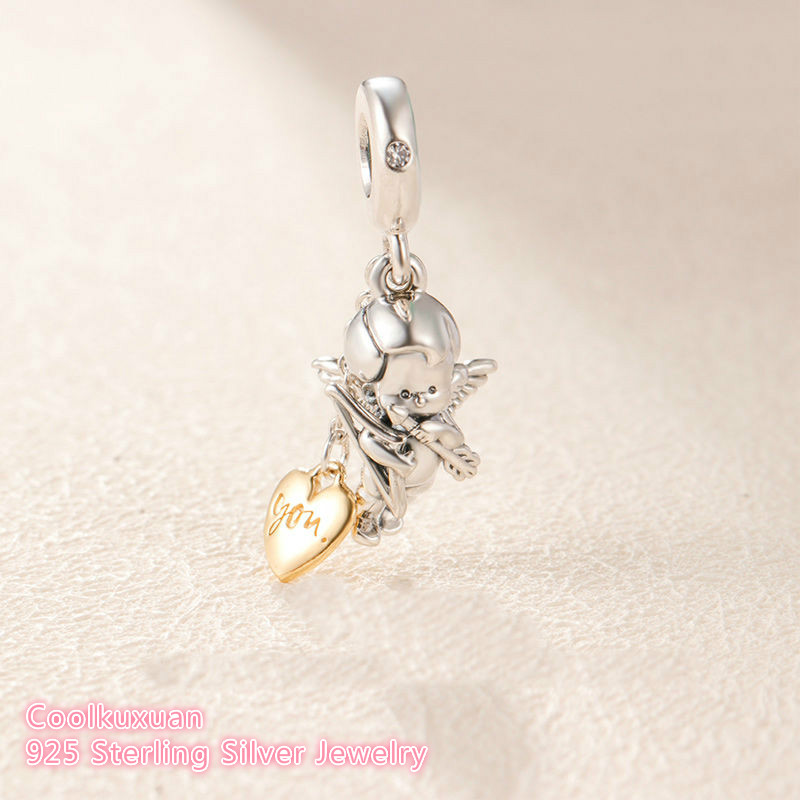 925 Sterling Silver Cupid & You Charm, Clear CZ Beads Fit Original Brand Charms Bracelet DIY Jewelry  2019 Valentine's Day