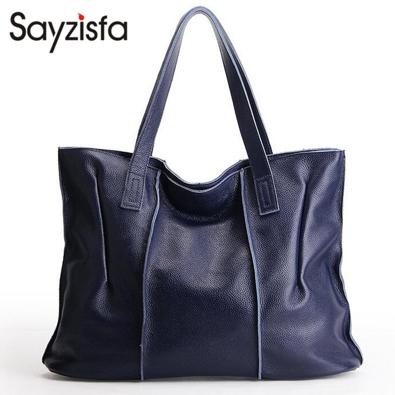 Sayzisfa New 100% Genuine Leather Bag Large Women Leather Handbags Famous Brand Women Messenger Bags Big Ladies Shoulder BagT281 new genuine leather bags for women famous brand boston messenger bags handbags tassel tote hand bag woman shoulder big bag bolso