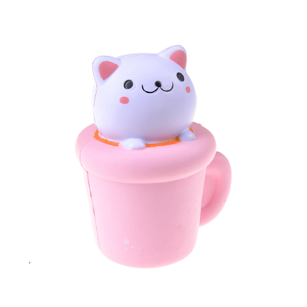 JINHF Slow Rising Squishy 14CM Jumbo Cup Cat Pussy Squeeze Cute Phone Strap Animal Slow Rising Scented Bread Cake Kid Toy Gift suporte de celular para parabrisa