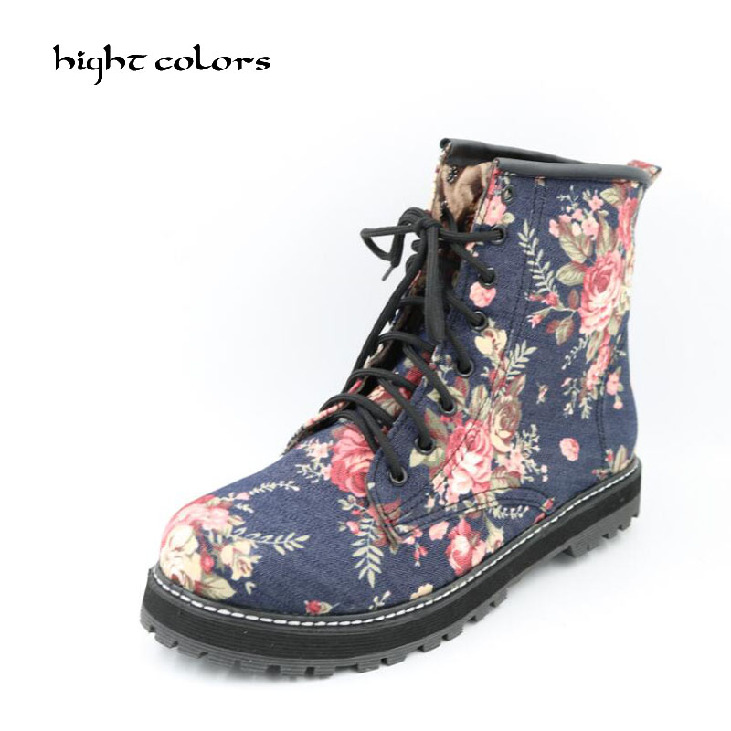 Women New 2017 Fashion Spring Autumn Retro Floral Lace Martin Boots Female British Style Flat Cloth Lace-up Shoes BLUE BLACK