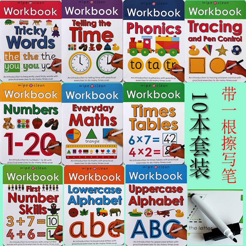 10Books/set Wipe Clean Workbook Children English Writing Book Times Tables Maths Number Skill Tricky Phonics Words Alphatbet ABC oliver n editor my big wipe clean numbers