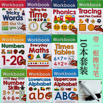 10Books/set Wipe Clean Workbook Children English Writing Book Times Tables Maths Number Skill Tricky Phonics Words Alphatbet ABC