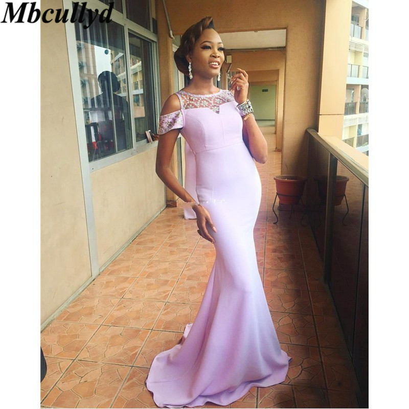 Mbcullyd Lavender 2019 Cheap Bridesmaid Dresses Under 100 Mermaid Off The Shoulder Beaded Long Wedding Party Gowns For Women