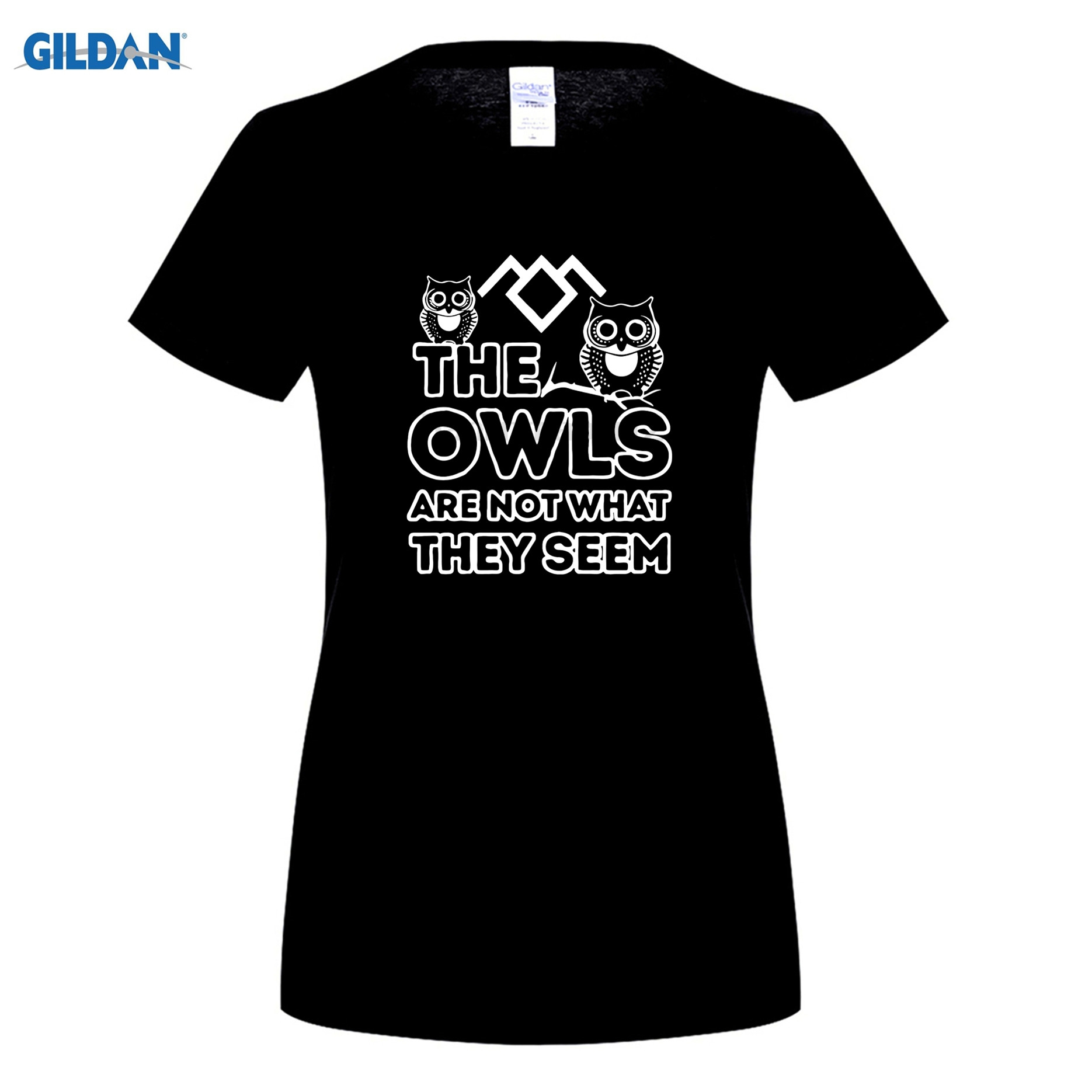GILDAN funny womens t shirt black Twin Peaks Show The Owls Are Not What They Seem O-Neck t-shirts for women