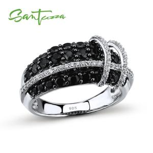 Image 1 - SANTUZZA Silver Ring For Women 925 Sterling Silver Top Quality AAA+ cubic zirconia Natural Black Stones Ring Fashion Jewelry