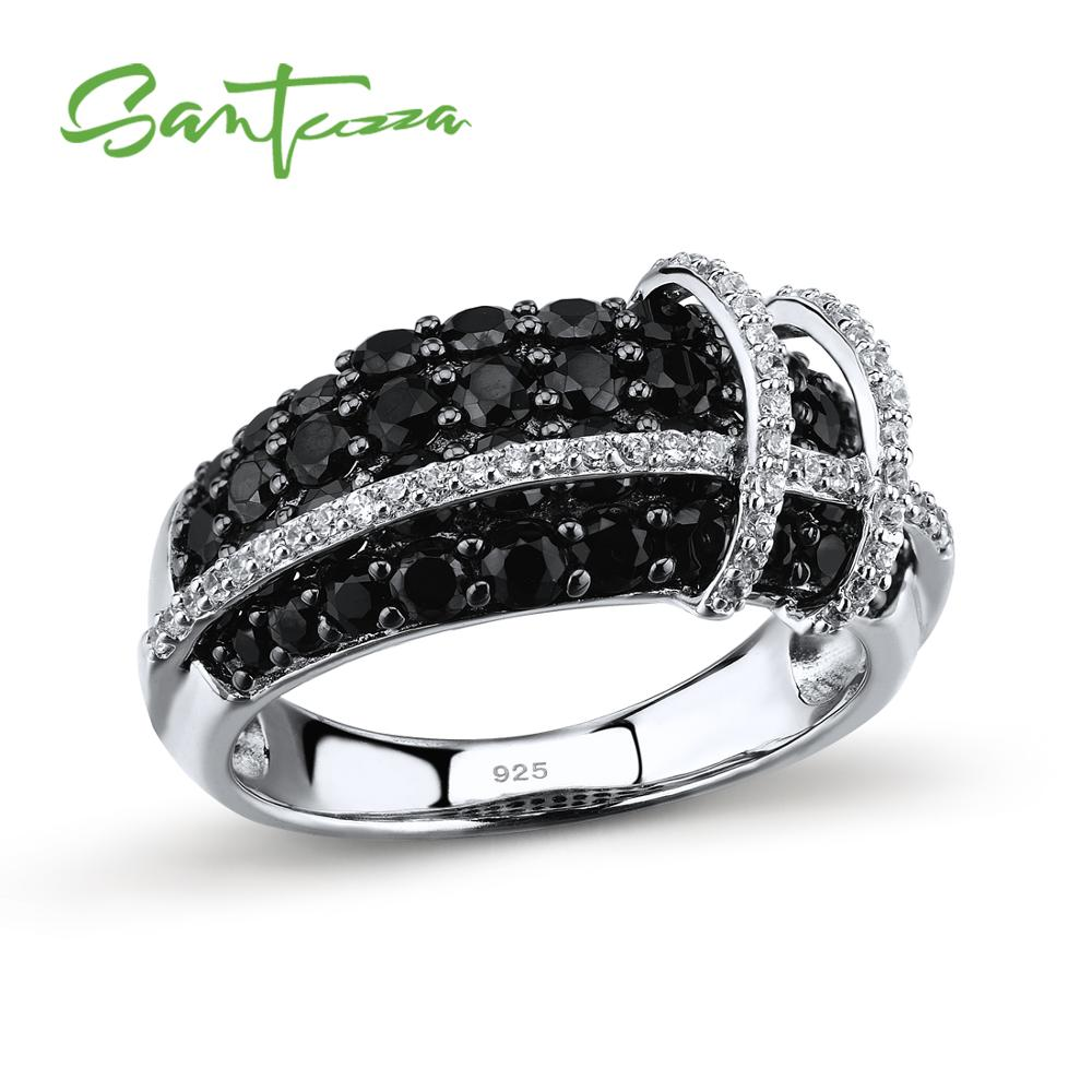 SANTUZZA Silver Ring For Women 925 Sterling Silver Top Quality AAA+ cubic zirconia Natural Black Stones Ring Fashion Jewelry