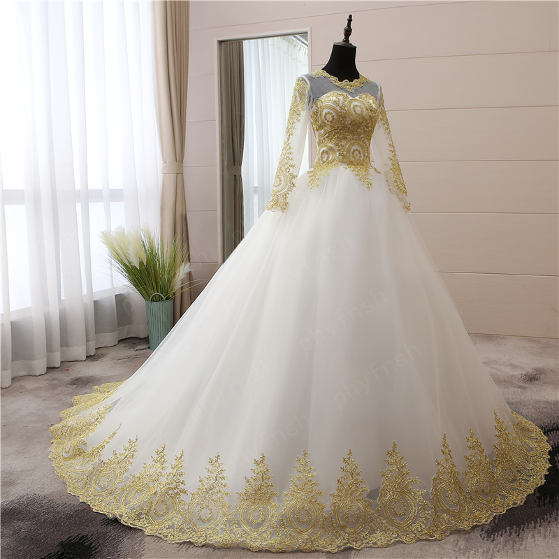Vintage Gold lace Appliques Embroidery Sweetheart White Blue Red Full Sleeve Fashion Muslim Wedding Dresses brides plus size 75-in Wedding Dresses from Weddings & Events    3