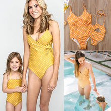 Family Matching Mother Daughter Polka Dot Yellow Bathing Suit
