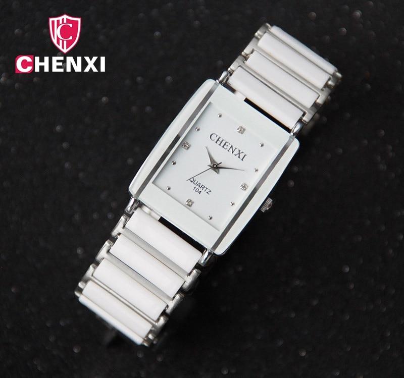 Луксузни бренд ЦХЕНКСИ Елегантни женски сатови Рхинестоне бијели сребрни Једноставни стилски дизајн керамика наруквица кварцни цасуал сат