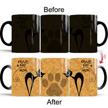 New Heat Reveal Mug Color Change Coffee Cup Sensitive Morphing Mugs Temperature Sensing Birthday Gift Crazy Cat Mom 2018 baldr earth mark cup tetris the heat change thermal color mugs