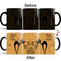 New Heat Reveal Mug Color Change Coffee Cup Sensitive Morphing Mugs Temperature Sensing Birthday Gift Crazy Cat Mom 2018