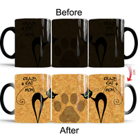 New Heat Reveal Mug Color Change Coffee Cup Sensitive Morphing Mugs Temperature Sensing Birthday Gift Crazy Cat Mom 2018