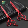"""6"""" Japan Red Color Hairdressing Scissors Professional Salon Products Hot Hair Scissosrs Thinning Cutting Barber Shear Tool"""