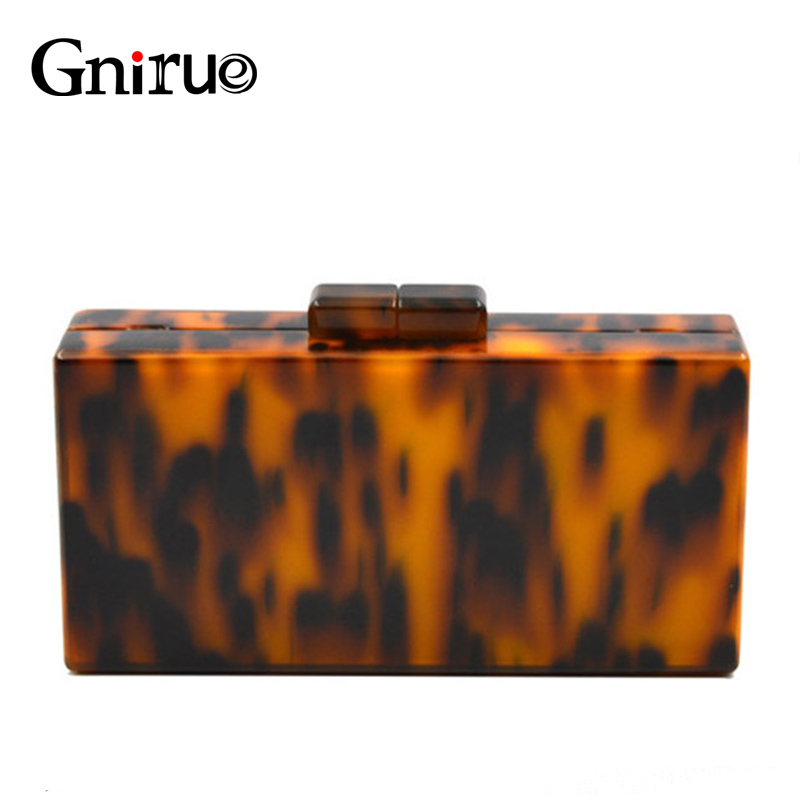 Sexy Leopard Pattern Acrylic Clutch Bag Retro Tortoiseshell Box Evening Bags Hard Women Shoulder Crossbody Chain Purse Handbags small transparent acrylic clutch perfume bottle bags lady evening clutch bags chain clutches women crossbody bag