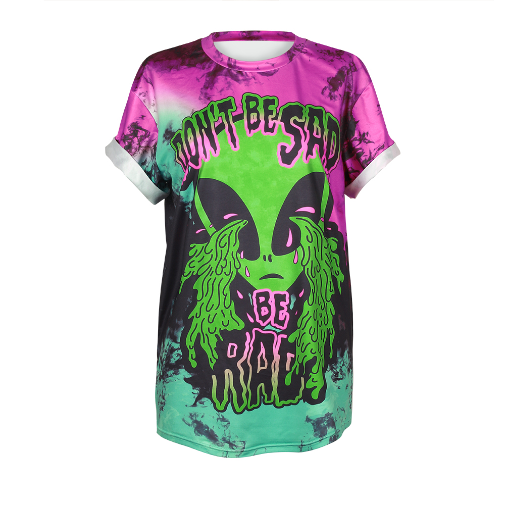 d256147b The Alien Letter Don't Be Sad Be Rad 3D Printed Women Tops Short Sleeve  Casual Blouses 2017 Summer Punk Rock Fashion T shirts
