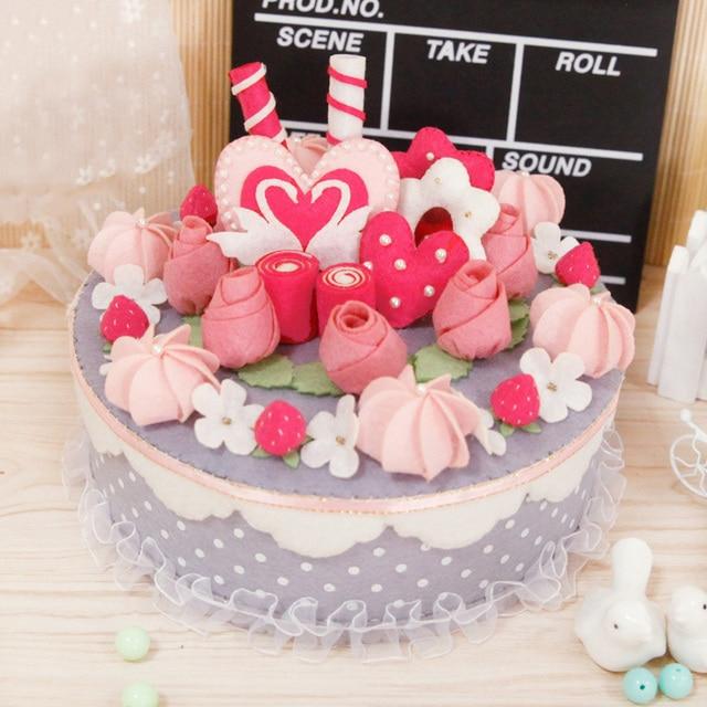 Free Cut Felt Diy Kid Storage Box Handmade Cake Design Cloth Case