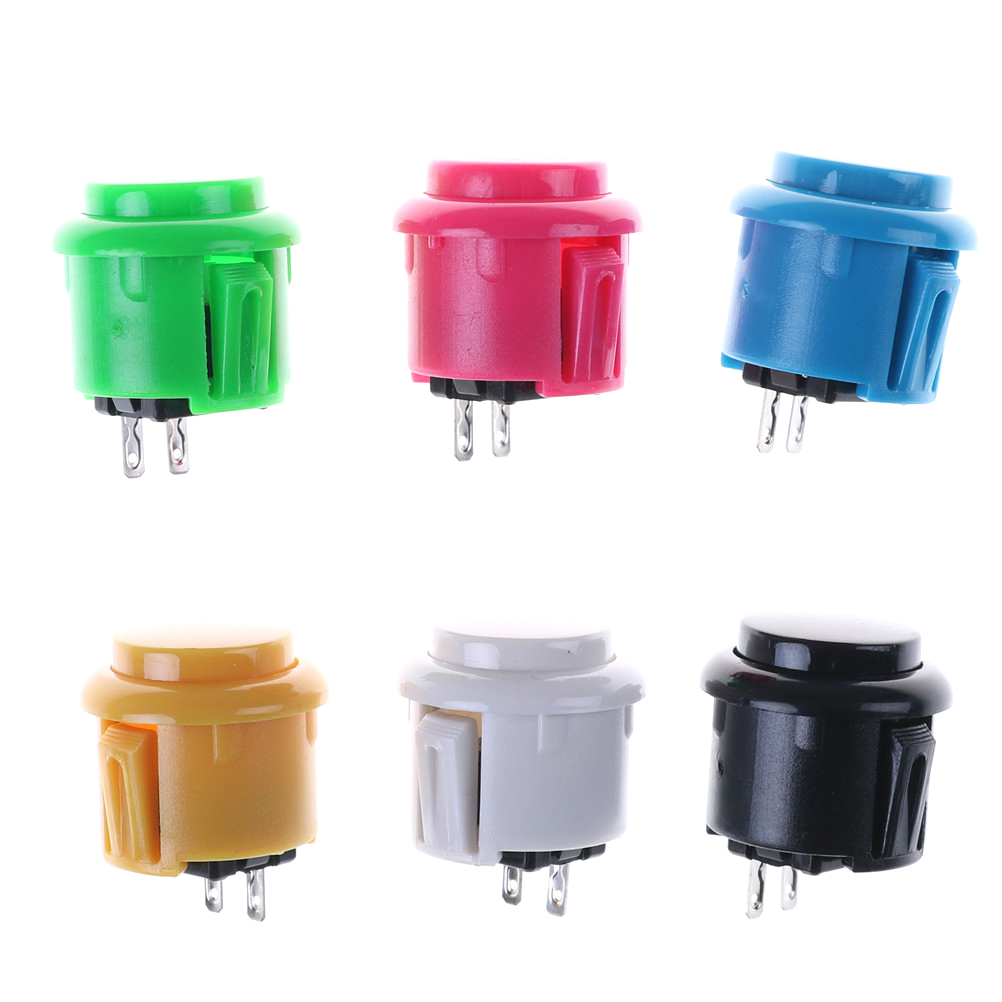 2pcsAmusement Cabinet Games Machine's Accessory 24mm Arcade Push Buttons Round Push Button/arcade With Switch