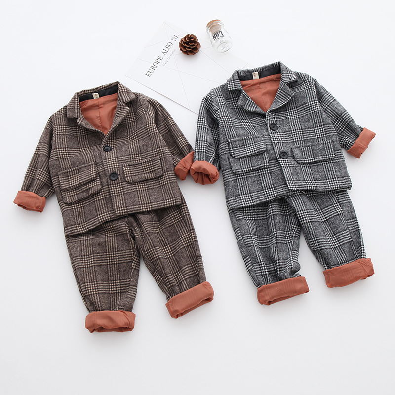 Children Girls Clothing Sets Plaid Style Girls T-shirts + Pants 2pcs Suit Autumn Winter Clothes Boys Kids Clothing For Baby Girl autumn winter boys girls clothes sets sports suits children warm clothing kids cartoon jacket pants long sleeved christmas suit
