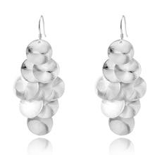 silver 925 jewelry female beautiful Round Scale Charm Earrings women earing trendy gifts bincos