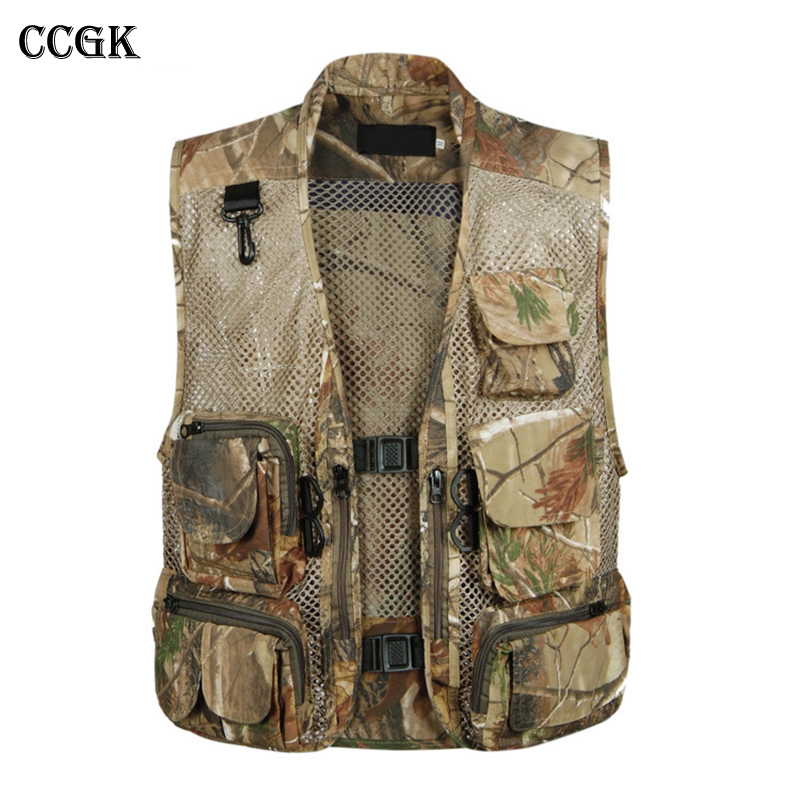 CCGK Tactical Mesh Men Vest Breathable Multi Pockets Camouflage Summer Outdoors Waistcoat Sleeveless Jacket Hunt Vest Size 3XL summer outdoors tactical mesh multi pockets vest men breathable shooting director photographer hunting hiking vest big size 6xl