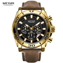 цена MEGIR Men's Army Sports Chronograph Quartz Watches Leather Strap Waterproof Luminous Wristwatch Man Relogios Clock 2094 Gold онлайн в 2017 году