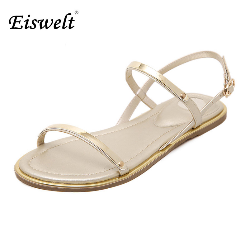 EISWELT New Women Sandals 2017 Comfortable Ankle Strap Flat Casual Sandals Women High Quality Buckle Strap Sandalias MujerEISWELT New Women Sandals 2017 Comfortable Ankle Strap Flat Casual Sandals Women High Quality Buckle Strap Sandalias Mujer