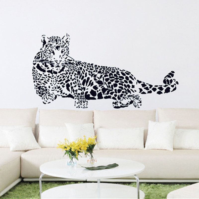 Black pvc wall stickers cheetah leopard 3d removable wall for Stickers 3d pared