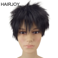 цена на HAIRJOY Man Synthetic Hair Natrural Black Short Layered Wig 1B Color Male  Curly Full Wigs Free Shipping