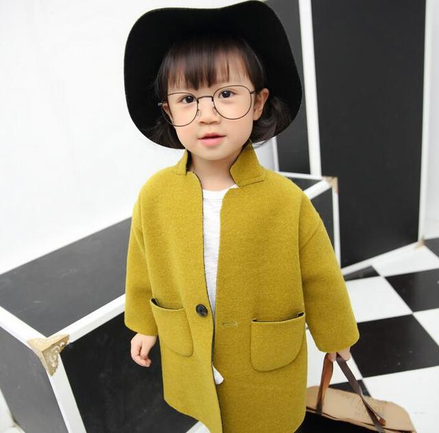 2016 autumn and winter new children 's clothing big girls fashion coat children coat solid yellow wool children girl coat