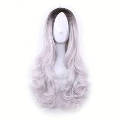 WoodFestival gradient dark root grey green purple heat resistant women hair wavy wigs synthetic <font><b>long</b></font> ombre wig pink