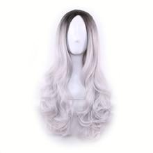 WOODFESTIVAL lång rak peruk syntetiska peruker gradient mörk rot peruk ombre grå rosa grön lila kvinnor hår peruker värmebeständig