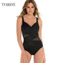 TYAKKVE 2019 New Sexy One Piece Swimsuit Women Summer Beachwear Mesh Shoulder Swimwear Bathing Suits Black Red Blue