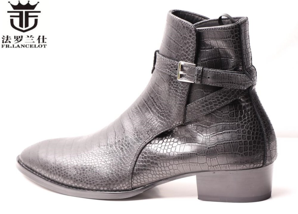 FR.LANCELOT 2019 men dress boots men snakeskin print leather boots buckle ankle booties party shoes med heel men bootsFR.LANCELOT 2019 men dress boots men snakeskin print leather boots buckle ankle booties party shoes med heel men boots