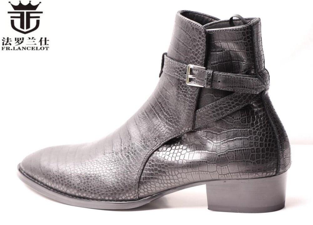 Fr. lancelot 2018 hombres visten botas hombres snakeskin cuero de la impresión botas de hebilla botines de tobillo partido zapatos Med talón botas de los hombres