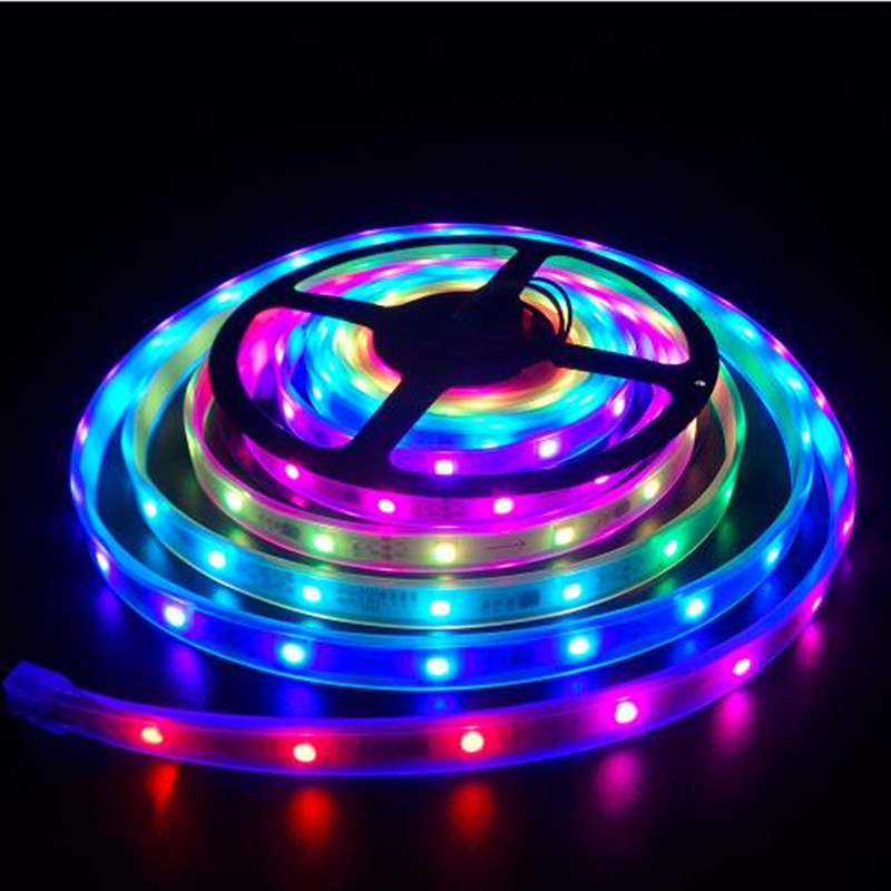 цена на 5m RGB dream magic led strip DC12V 6803 IC IP67 waterproof LED Strip 5050 SMD 150LED flexible light+133 Program RF controller