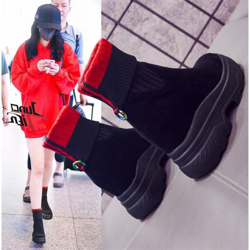 SWYIVY Knit Sock Shoes Winter Woman Ankle Boots Platform Sneakers  2020 Velvet Fur Warm Sneakers Black Ankle Boots For Women